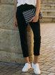 Black Solid H-line Cotton Simple Skinny Leg Pants