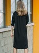 Black Simple H-line Cotton Solid Shirt Dress