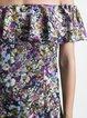 H-line Short Sleeve Ruffled Floral Elegant Midi Dress