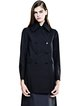 Black Solid Shirt Collar Casual Buttoned Coat
