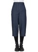 Navy Blue Simple H-line Cotton Solid Straight Leg Pants
