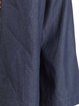 Dark Blue Simple Cotton Wide Leg Pants