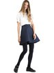 Navy Blue Cotton-blend Simple Solid Embossed Mini Skirt