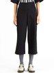 Black Simple Solid Cotton-blend H-line Straight Leg Pants