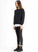 Black Simple Silk Embossed Solid Sweatshirt