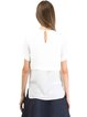 White Short Sleeve Paneled Solid H-line Blouse