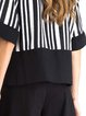 Black Stripes Cotton-blend Paneled Half Sleeve Blouse