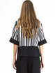 Black Stripes Cotton-blend Paneled Half Sleeve Blouse