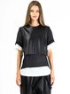 Black Crew Neck Short Sleeve H-line Paneled Blouse