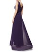Gathered Sleeveless High Low Solid Plunging Neck Evening Dress