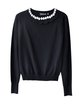 Black Beaded Solid Casual Sweater