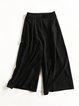 Black Two Piece Solid Sleeveless Wide Leg Slit Casual Jumpsuit