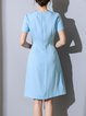 Plus Size Pleated Crew Neck A-line Short Sleeve Elegant Midi Dress