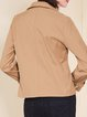 Apricot Long Sleeve Solid Double Breasted Cropped Jacket