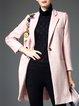 Pink Appliqued Long Sleeve Wool Blend Coat