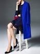 Blue Long Sleeve Wool Blend H-line Coat
