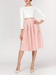 Pink Casual Solid A-line Gathered Midi Skirt