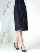 Plus Size Dark Blue Slit Elegant A-line Midi Skirt