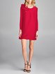 Plus Size Red Crew Neck Long Sleeve Appliqued Casual Mini Dress