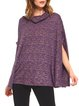 Purple Cowl Neck Cape Sleeve Casual Poncho And Cape