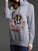 Gray Embroidered Long Sleeve Sweater