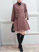 Stand Collar Buttoned Solid Long Sleeve Casual Coat