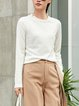 Wool-blended Casual Plain Knitted Long Sleeve Crew Neck Sweater
