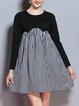 Plus Size Black Crew Neck Paneled Casual Gingham Midi Dress