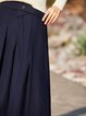 Navy Blue Folds Shift Casual Solid Wide Leg Pants
