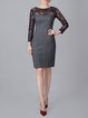 Gray Long Sleeve Sheath Paneled Midi Dress