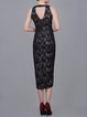 Black Sheath Elegant Cotton-blend V Neck Midi Dress
