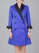 Royal Blue Color-block Elegant Lapel Coat
