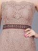 Apricot Sheath Lace Elegant Midi Dress