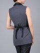 Deep Gray Lapel Sleeveless Wool Blend H-line Vests
