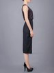 Black Wool Blend Paneled H-line Elegant Pencil Skirt