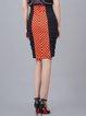 Orange Polka Dots Elegant Sheath Pencil Skirt