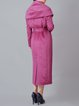 Purple Solid Long Sleeve Wool Coat