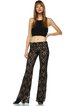 Black Guipure Lace Elegant Flared Pants