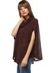 Brown Solid Casual Cowl Neck Tunic