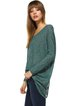 Green Casual Asymmetrical Rayon Crew Neck Tunic