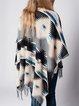 Beige H-line Tribal Batwing Knitted Poncho