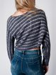 Deep Gray Batwing Acrylic Stripes Sweater