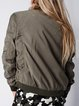 Army Green H-line Tencel Solid Long Sleeve Bomber Jacket