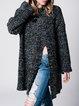 Simple Long Sleeve Crew Neck Slit Acrylic Sweater