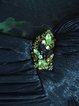 Green Abstract Devore Elegant Sheath Maxi Dress