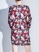 Knitted Jacquard H-line Long Sleeve Casual Mini Dress