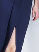 Navy Blue Simple Solid Polyester H-line Midi Skirt