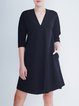 Black A-line Solid V Neck Simple Midi Dress