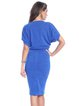 Blue Sheath Polyester Elegant Crew Neck Midi Dress