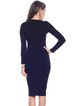 Dark Blue Solid Crew Neck Long Sleeve Beaded Midi Dress